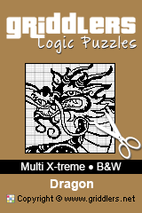 iGridd Books - Griddlers, Nonograms, Picross puzzles. Download PDF and print - Multi X-treme - Black and White, Dragon