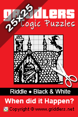 iGridd Books - Griddlers, Nonograms, Picross puzzles. Download PDF and print - Riddle - When Did it Happen? (Black and White, 25x25)
