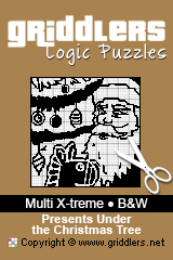 iGridd Books - Griddlers, Nonograms, Picross puzzles. Download PDF and print - Multi X-treme - Black and White, Presents Under the Christmas Tree
