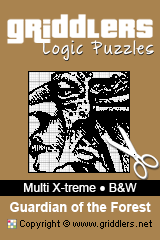 iGridd Books - Griddlers, Nonograms, Picross puzzles. Download PDF and print - Multi X-treme - Black and White, The Guardian of the Forest