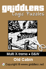 iGridd Books - Griddlers, Nonograms, Picross puzzles. Download PDF and print - Multi X-treme - Black and White, Old Cabin