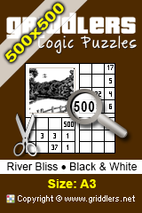 iGridd Books - Griddlers, Nonograms, Picross puzzles. Download PDF and print - River Bliss - Black and White, 500x500 (A3)