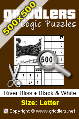 iGridd Books - Griddlers, Nonograms, Picross puzzles. Download PDF and print - River Bliss - Black and White, 500x500 (Letter)