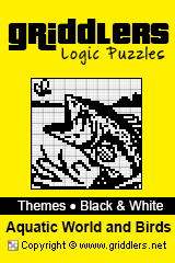 iGridd Books - Griddlers, Nonograms, Picross puzzles. Download PDF and print - Theme - Aquatic World and Birds, Black and White