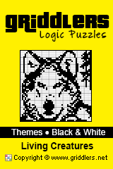 iGridd Books - Griddlers, Nonograms, Picross puzzles. Download PDF and print - Theme - Living Creatures, Black and White